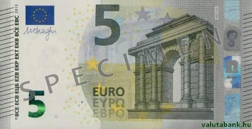 5 Eurós Címlet Eleje Euro Bankjegy Eur