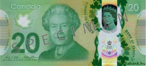 20 Dolláros Címlet Eleje Kanadai Dollár Bankjegy Cad