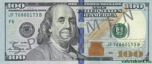 100 Dolláros Címlet Előlnézeti Képe